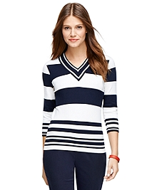 Three-Quarter Sleeve V-Neck Sweater