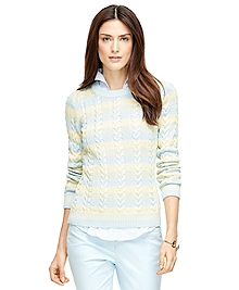Cotton Blend Crewneck Cableknit Sweater