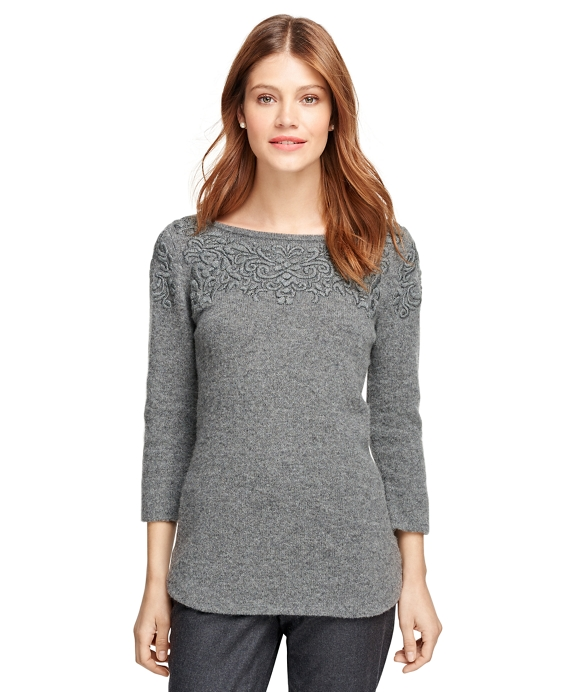 Wool Embroidered Boatneck Sweater