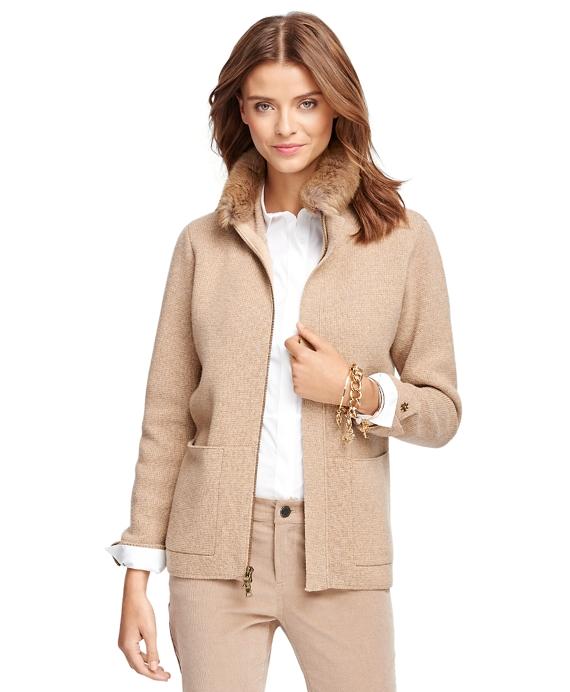 Saxxon Wool Cardigan with Fur Collar