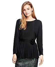 Wool, Silk and Cashmere Pleat Front Sweater