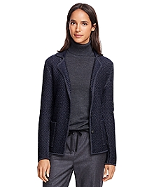Merino Wool Herringbone Sweater Jacket