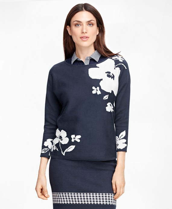 Supima® Cotton Floral Sweater Navy