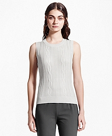 Sleeveless Cotton-Blend Shell
