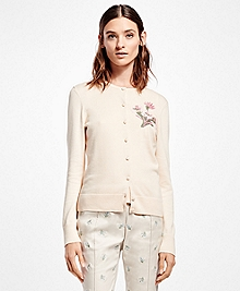 Supima® Cotton Vintage Floral-Embroidered Cardigan