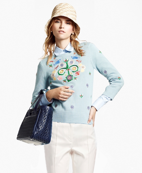 Embroidered Three-Quarter-Sleeve Sweater Blue