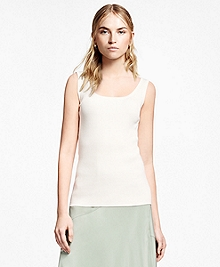 Ribbed Cotton-Silk-Blend Tank