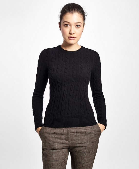 Cashmere Cable Crewneck Sweater Black