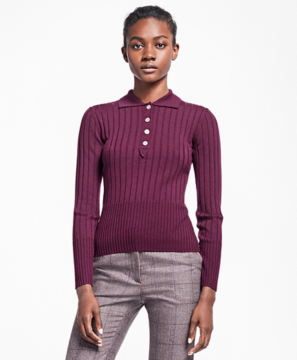 Ribbed Saxxon Wool Polo Sweater
