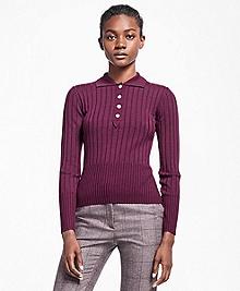 Ribbed Saxxon Wool Polo Sweater