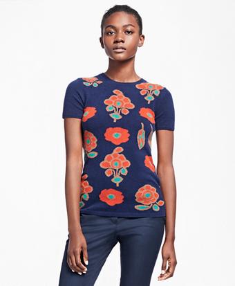 Cashmere Floral Intarsia Sweater