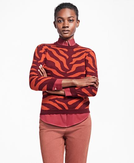 Zebra Intarsia Silk-Cashmere Wool Sweater