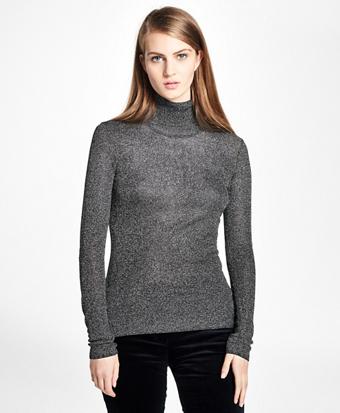 Metallic Turtleneck Sweater