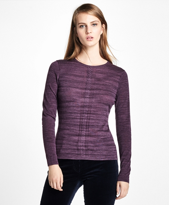 Merino Wool Crew Neck Sweater Purple