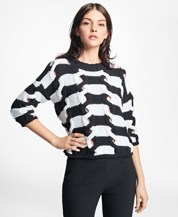 Twisted Cable-Knit Stripe Sweater