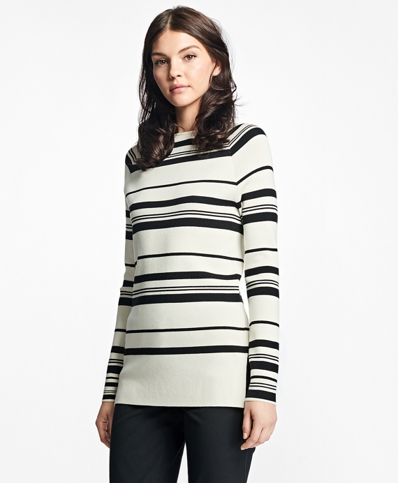 Nautical Silk-Cotton Square-Neck Sweater