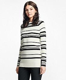 Nautical Silk-Cotton Square-Neck Sweater