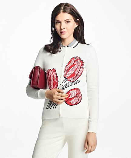 Supima® Cotton Tulip Intarsia Jacquard Cardigan