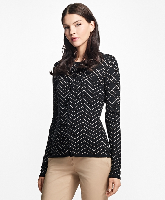 Jacquard Bird's-Eye Silk-Cotton Cardigan Black
