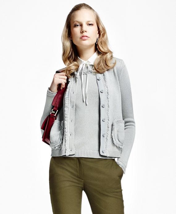 Cotton Fringe Cardigan Grey