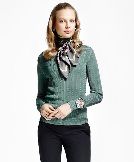 Long-Sleeve Rayon Cable Cardigan