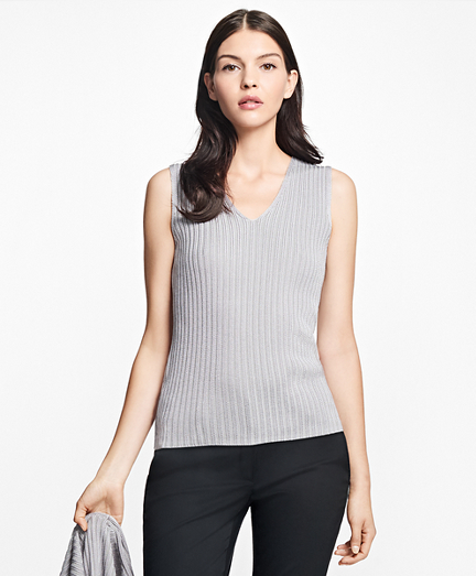 Sleeveless Cotton-Rayon Deep V-Neck Shell