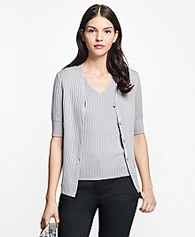 Elbow-Length Cotton-Rayon V-Neck Cardigan
