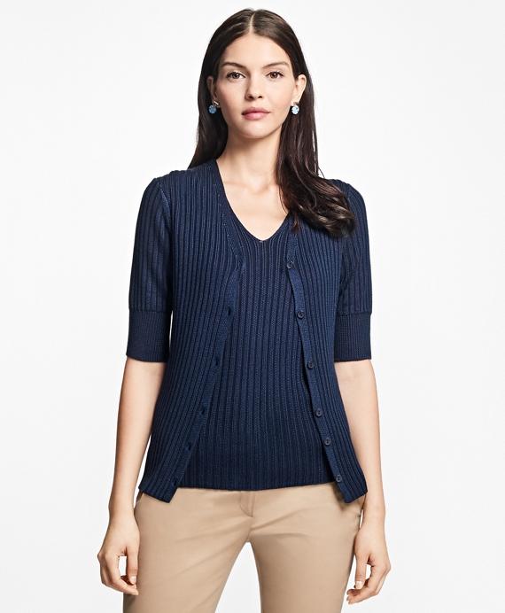 Elbow-Length Cotton-Rayon V-Neck Cardigan
