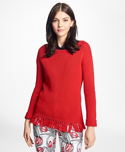 Mercerized Cotton Fringe Boatneck Sweater