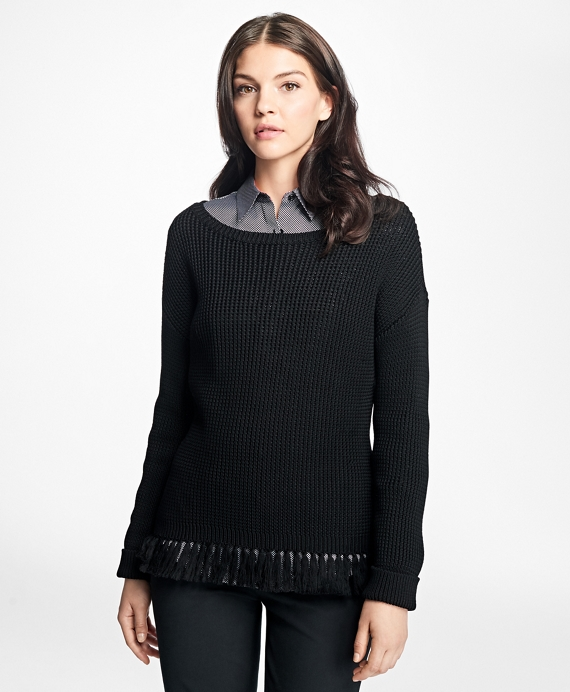 Mercerized Cotton Fringe Boatneck Sweater