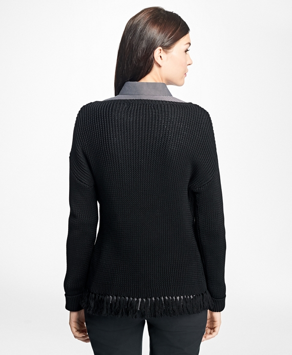 Mercerized Cotton Fringe Boatneck Sweater - Brooks Brothers