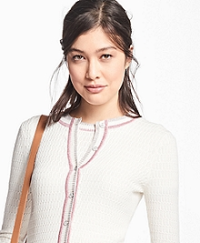 Metallic Stripe-Tip Supima® Cotton Cardigan