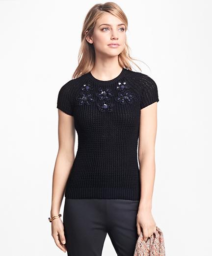 Floral-Embellished Raglan Sweater