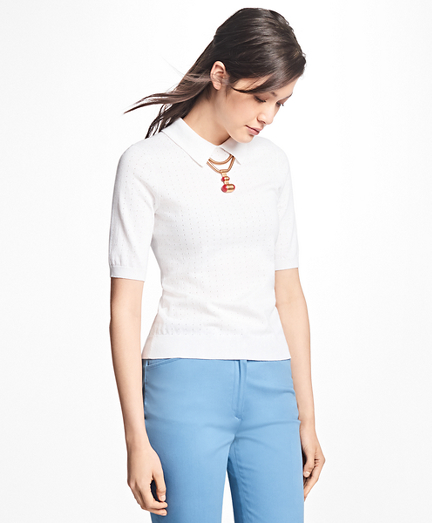 Pointelle Polo Sweater