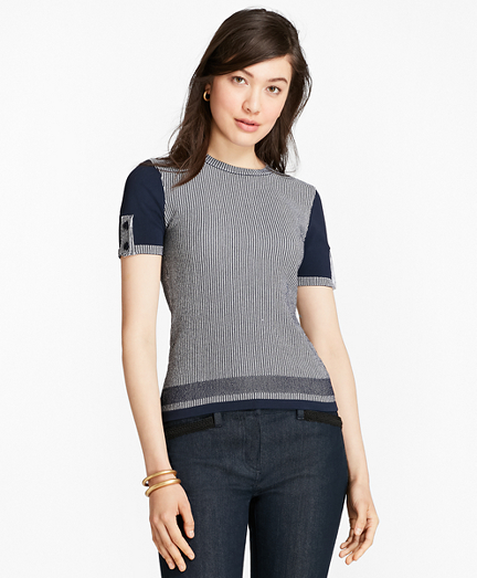 Ribbed-Knit Short-Sleeve Sweater