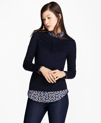 Chevron Merino Wool-Silk-Cashmere Sweater