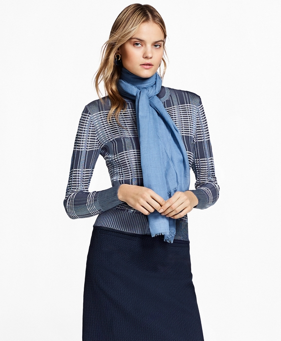 Plaid Jacquard Cardigan Blue
