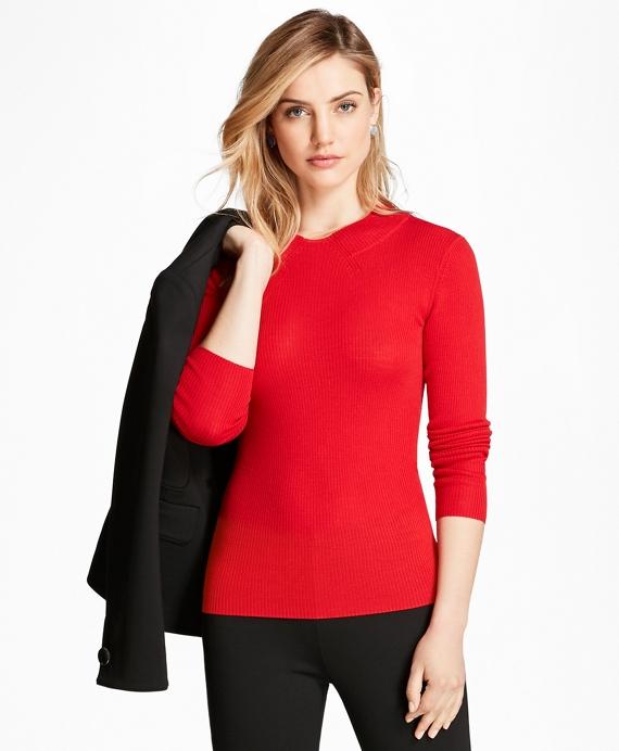 Rib-Knit Merino Wool Sweater Red