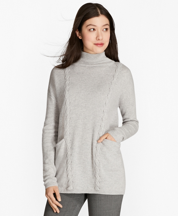 Wool-Yak-Cashmere Cable-Knit Sweater Light Grey