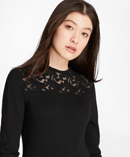 Lace-Yoke Wool-Cashmere-Blend Sweater