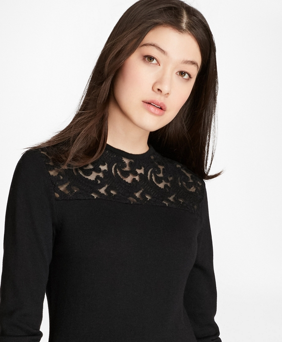 Lace-Yoke Wool-Cashmere-Blend Sweater Black
