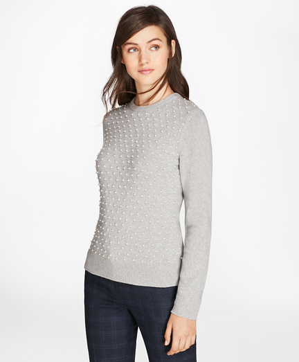 Beaded Merino-Wool-Cashmere Sweater