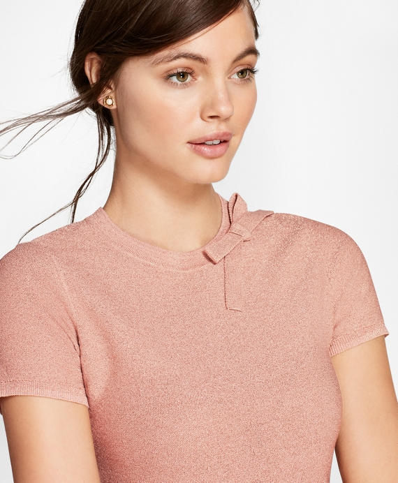 Shimmer-Knit Short-Sleeve Sweater Pink