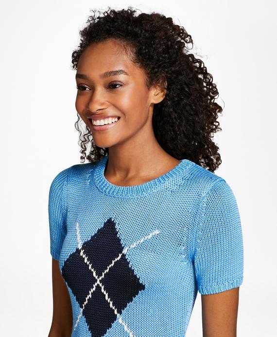 Short-Sleeve Argyle Sweater Blue
