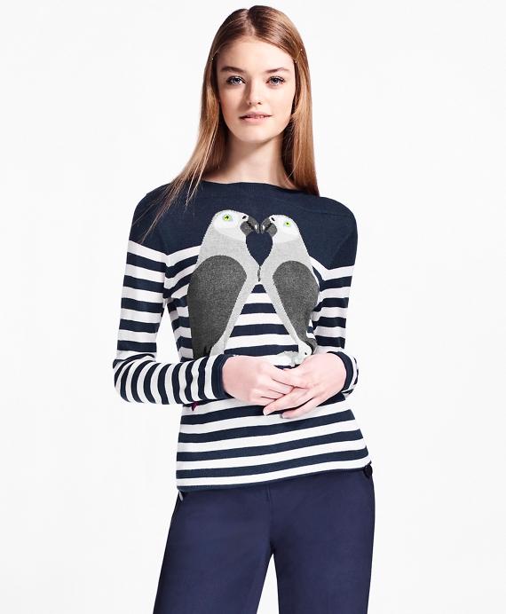 Silk-Cashmere Parrot Sweater