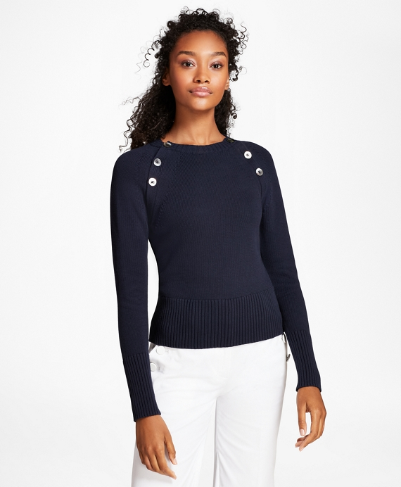Brooks Brothers Women's Button-Shoulder Cotton-Blend Sweater