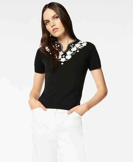 Floral-Embroidered Short-Sleeve Sweater