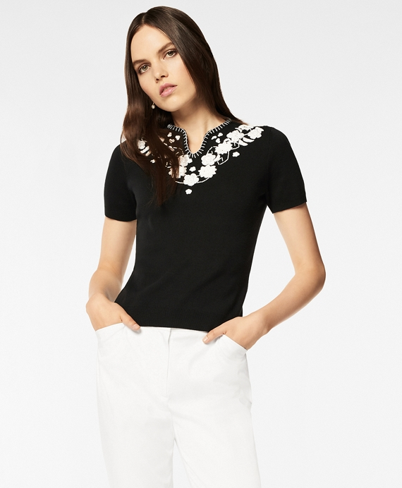 Floral-Embroidered Short-Sleeve Sweater Black