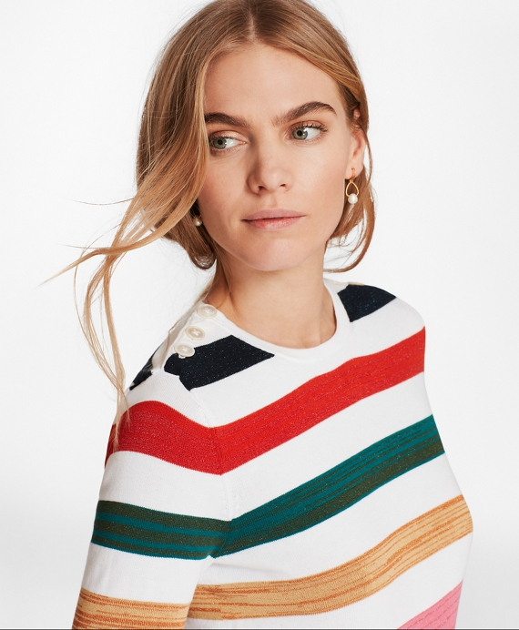 Striped Shimmer-Knit Sweater Multi