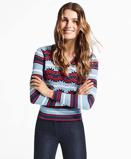 Geometric-Pattern V-Neck Sweater